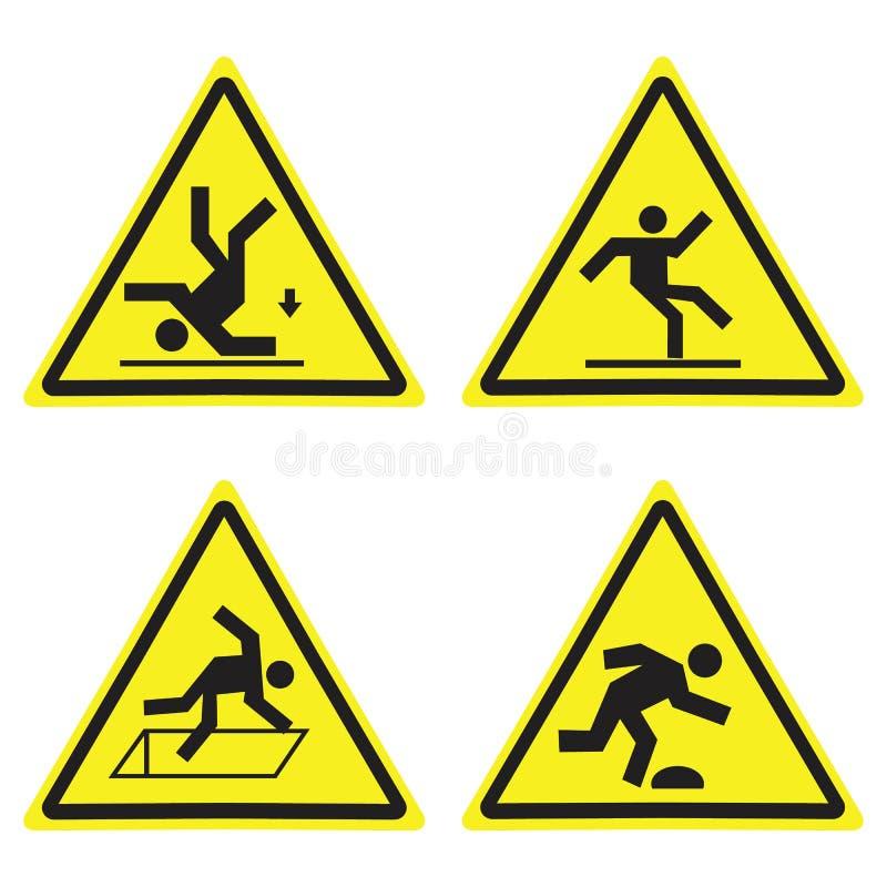 Det varnande gula triangeltecknet för fara ställde in isolerat på vit vektor illustrationer