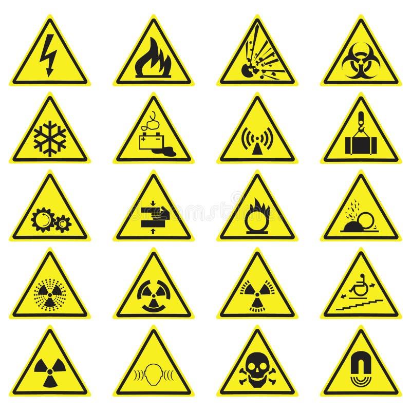 Det varnande gula triangeltecknet för fara ställde in isolerat på vit stock illustrationer
