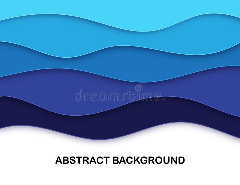 Det varvade pappers- snittet formar abstrakt bakgrund 3D Havsvågkort Papercut orientering I lager kurvorigami Ställe för royaltyfri illustrationer