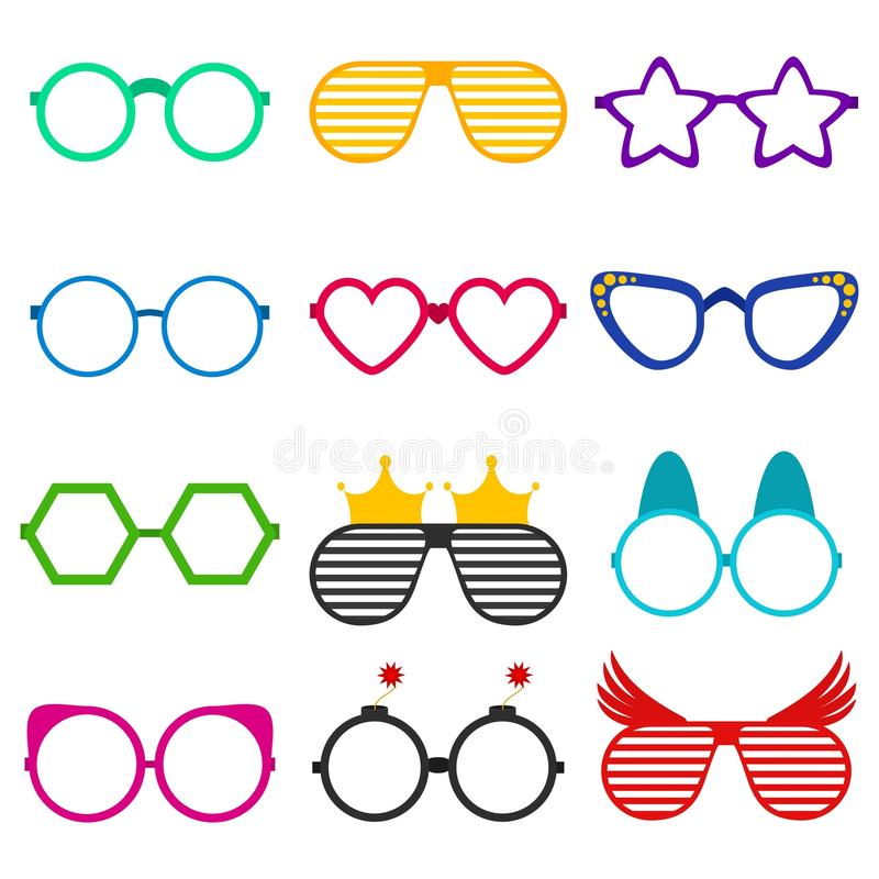 Det vektorpartisolglasögon eller glasögon ställde in i rolig form Tillbehör för synförmåga för anblickar för hipstersmode optisk royaltyfri illustrationer