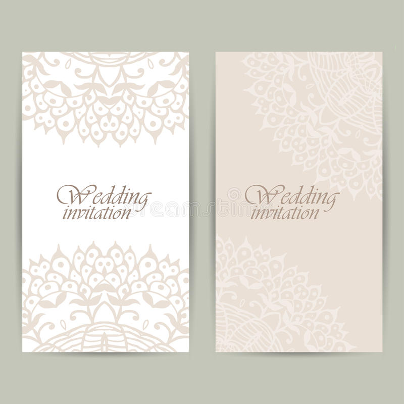 Det vertikala bröllopinbjudankortet med snör åt prydnaden Det kan vara nödvändigt för kapacitet av designarbete stock illustrationer