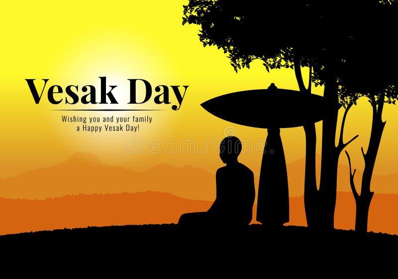 Det Vesak dagbanret med den buddistiska munken mediterar att sitta under paraplyet och träd i design för aftontidvektor stock illustrationer