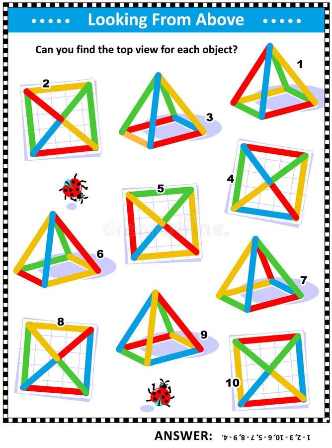 Det visuella matematikpusslet - finna den bästa sikten för färgrika trådobjekt stock illustrationer