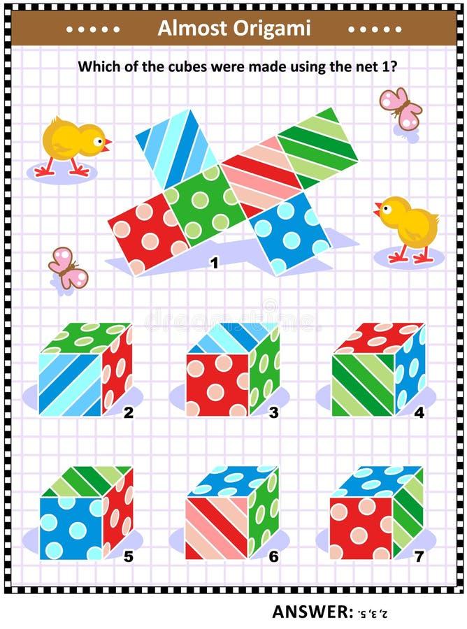 Det visuella matematikpusslet med kuber och förtjänar stock illustrationer