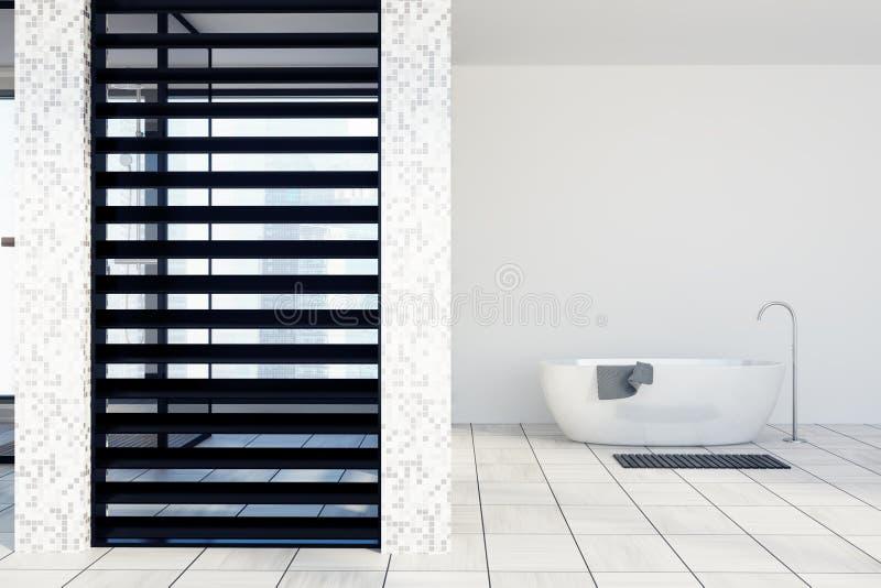 Det vit belade med tegel badrummet, badar stock illustrationer