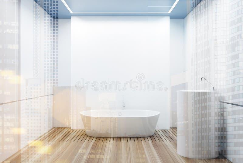 Det vit belade med tegel badrummet, vit badar dubbelt vektor illustrationer