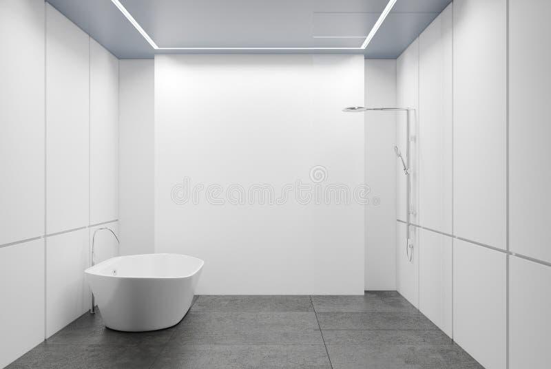 Det vit belade med tegel badrummet, badar och duschar vektor illustrationer