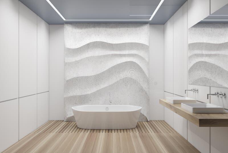 Det vit belade med tegel badrummet, badar och sjunker stock illustrationer