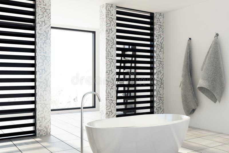 Det vit belade med tegel badrummet, badar, sid stock illustrationer
