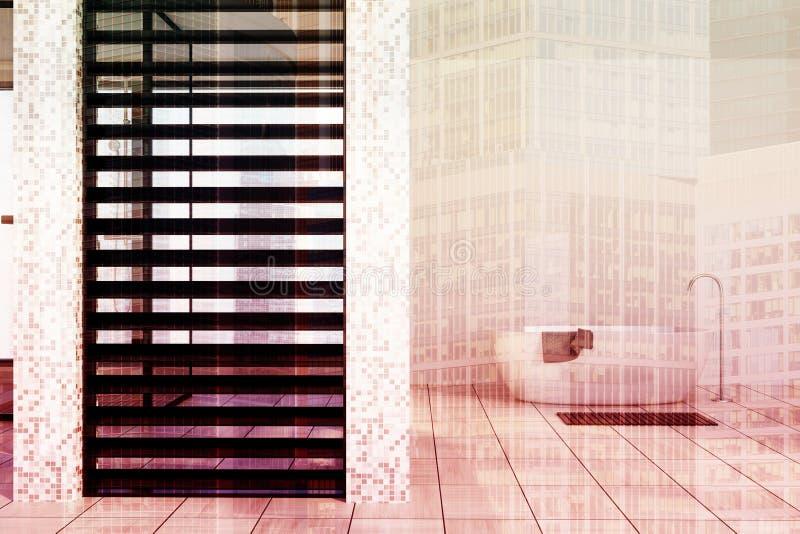 Det vit belade med tegel badrummet, badar tonat royaltyfri illustrationer