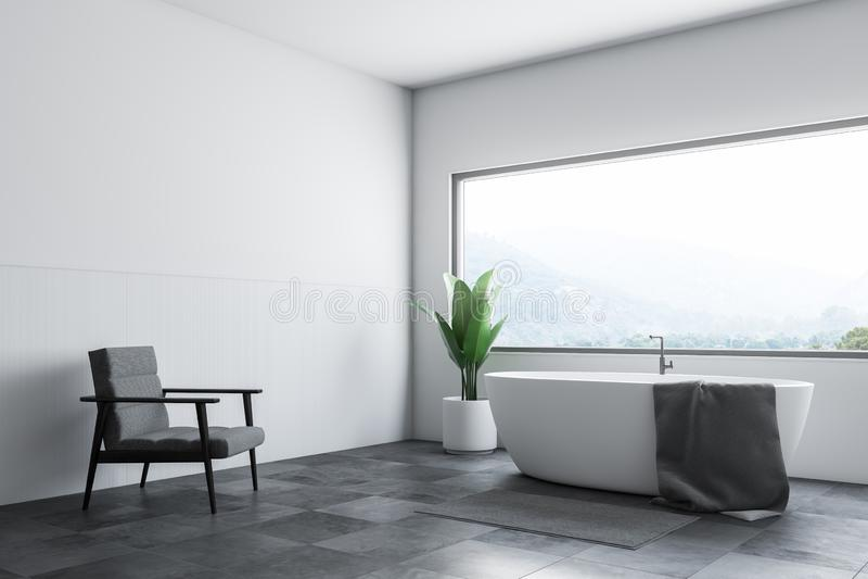 Det vita badrumhörnet badar och fåtöljen royaltyfri illustrationer