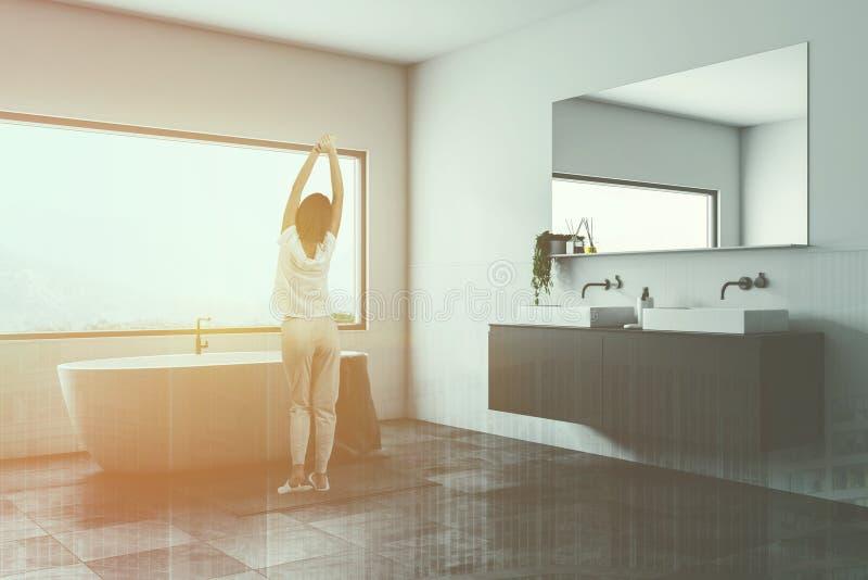 Det vita badrumhörnet, badar och sjunker, kvinnan vektor illustrationer