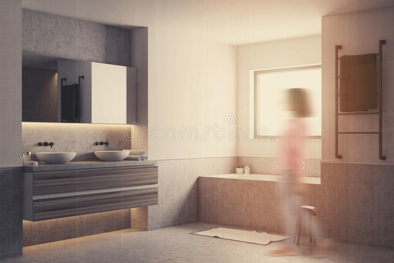 Det vita badrumhörnet, grå färg badar och vasksuddighet stock illustrationer