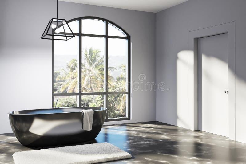 Det vita badrumhörnet, runda badar royaltyfri illustrationer