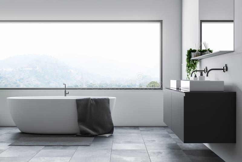 Det vita badrummet med badar och sjunker royaltyfri illustrationer