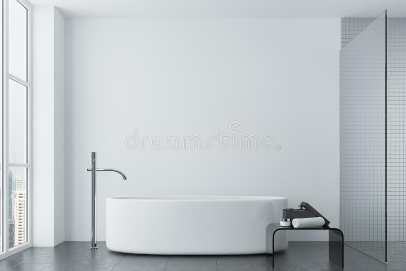Det vita badrummet, tegelplattor och rundan badar, fönstret stock illustrationer