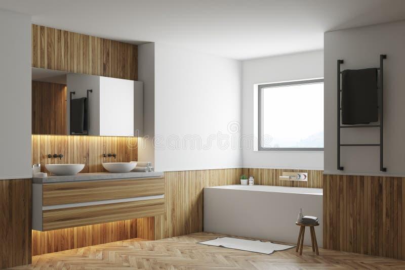 Det vita och träbadrumhörnet, vit badar, vaskar vektor illustrationer