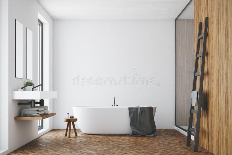 Det vita och träbadrummet, vit badar royaltyfri illustrationer
