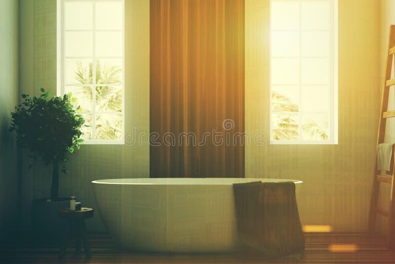 Det vita och träbadrummet, vit badar den tonade closeupen stock illustrationer