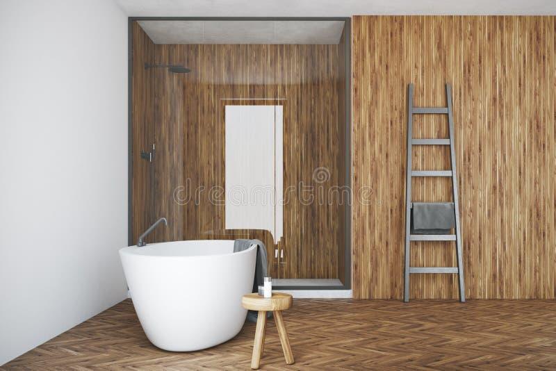Det vita och träbadrummet, vit badar, duschar royaltyfri illustrationer
