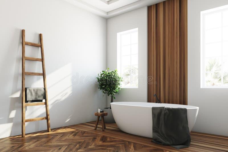 Det vita och träbadrummet, vit badar hörnet vektor illustrationer