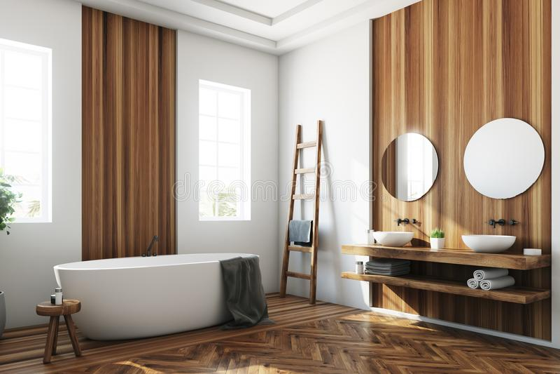 Det vita och träbadrummet, vit badar sidan stock illustrationer