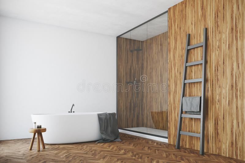 Det vita och träbadrummet, vit badar, tränga någon royaltyfri illustrationer