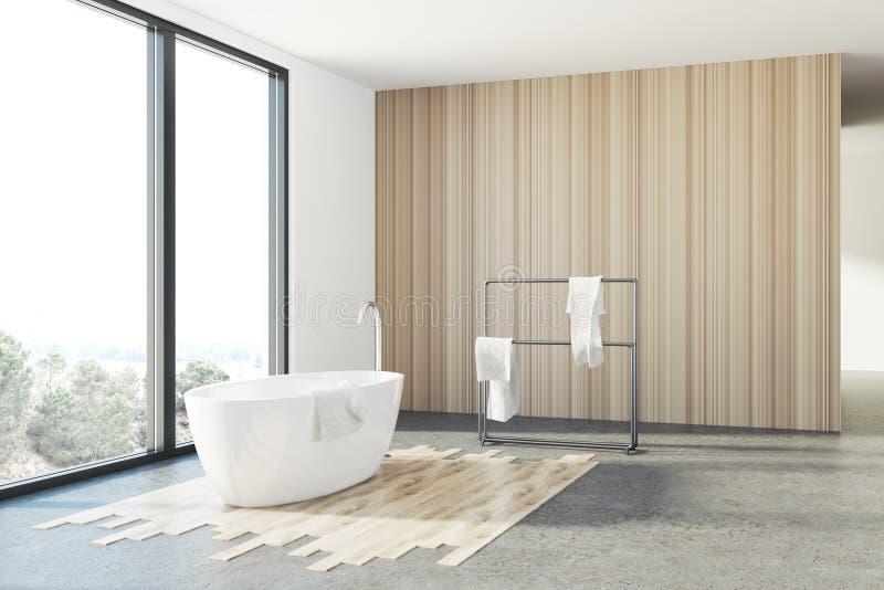 Det vita och träbadrummet, vit badar, vinden royaltyfri illustrationer