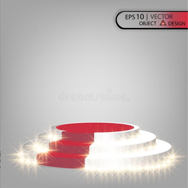 Det vita podiet är flernivå- på en genomskinlig bakgrund med en röd bana och att rikta uppmärksamheten på strålkastarna Vektorn a royaltyfri illustrationer