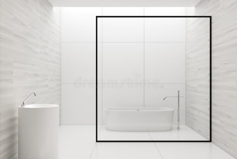 Det vita träbadrummet, vit badar och sjunker royaltyfri illustrationer