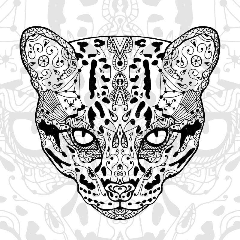 Det vita trycket för svart och för lös katt med etniska zentanglemodeller Färgläggningbok för antistress vuxna människor Konstter royaltyfri illustrationer