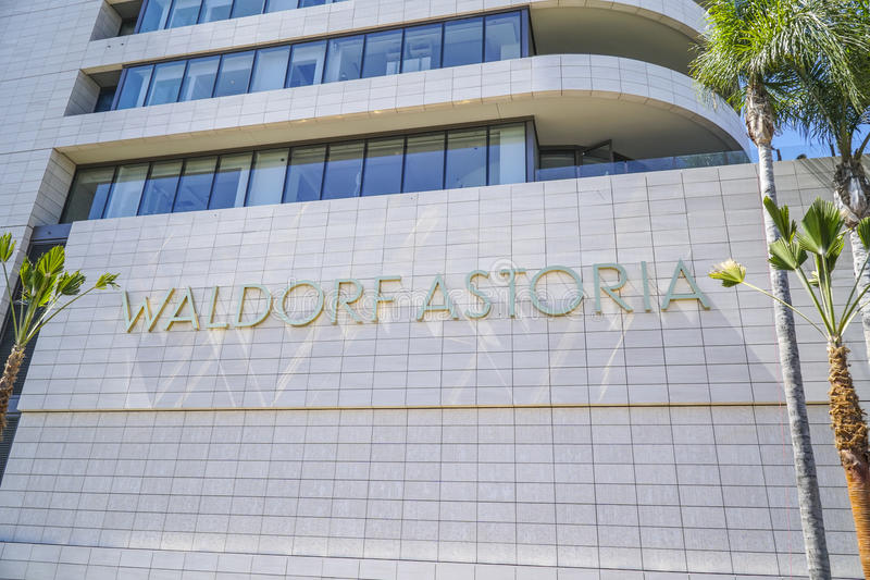 Det Waldorf Astoria hotellet i Beverly Hills - LOS ANGELES - KALIFORNIEN - APRIL 20, 2017 arkivbild