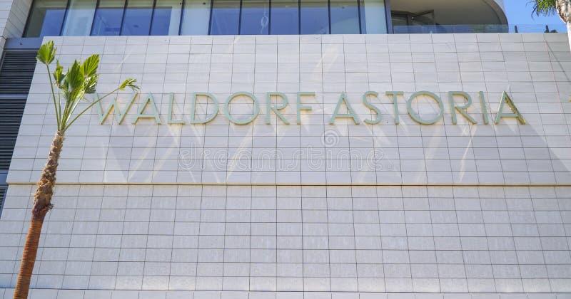 Det Waldorf Astoria hotellet i Beverly Hills - LOS ANGELES - KALIFORNIEN - APRIL 20, 2017 royaltyfri bild