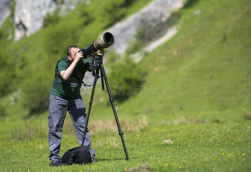Det yrkesmässiga loppet på läge- och naturvideographer/fotograf man att fotografera djurliv royaltyfri bild