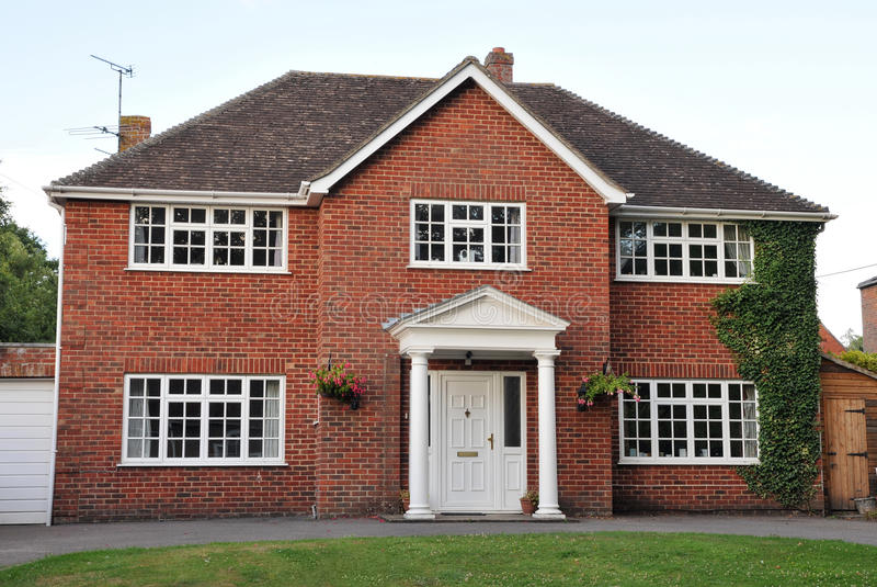 Detached Red Brick House stock photos