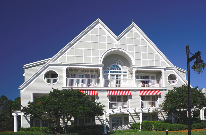 Download Detached Two-storied House Facade With Terrace Stock Photo - Image: 8399106