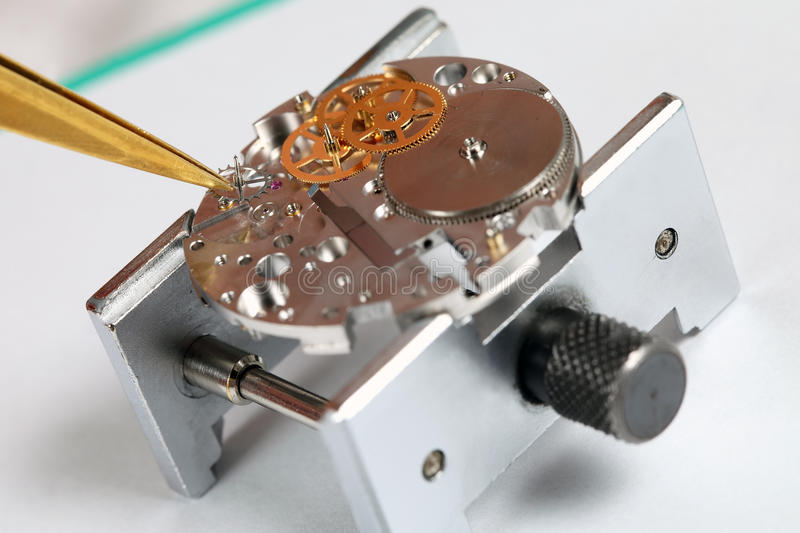 Detail. From watchmakers workshop. Intentional shallow depth of field stock image