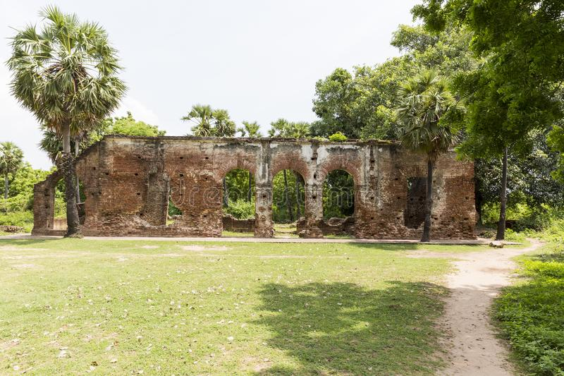 Details of abandoned half-ruined medieval temple india royalty free stock images