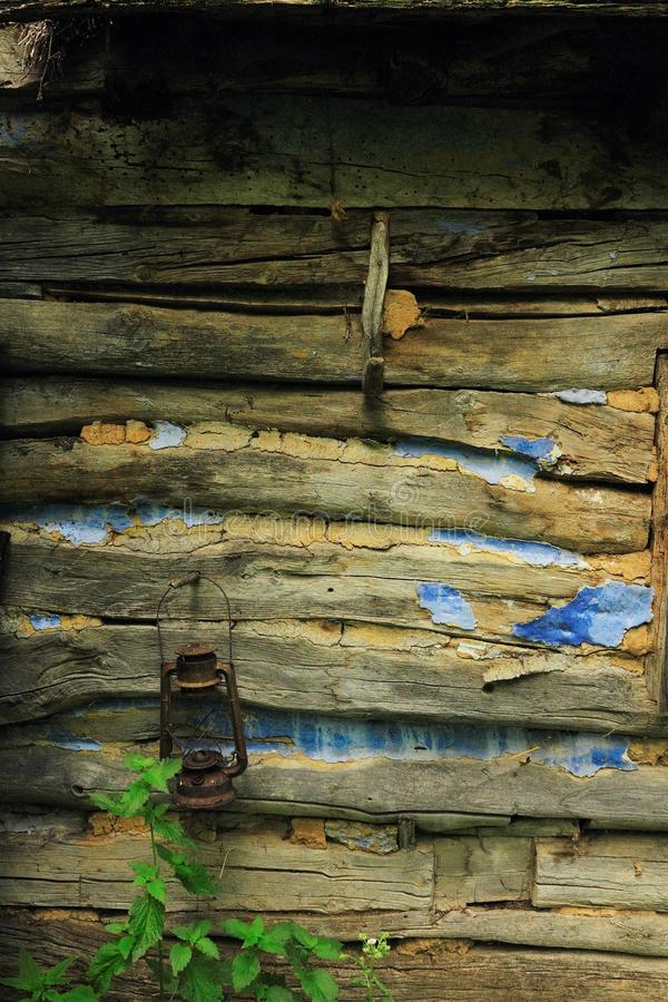 Detail of abandoned wooden traditional house wall royalty free stock photography