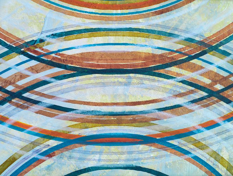 A detail from an abstract painting;  concentric rings on a dull grunge backbround.  royalty free illustration