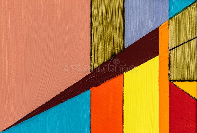 A Detail from an Abstract Painting using Pencil, Ink and Acrylic. Striated Color royalty free stock image