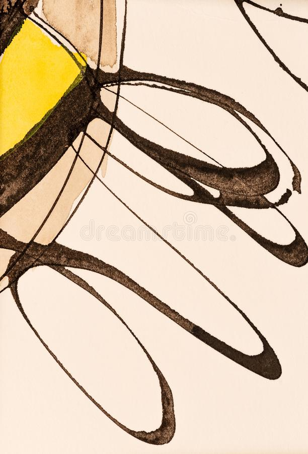 A Detail from an Abstract Painting using Pencil, Ink and Watercolour; Graceful Looping Lines. stock illustration