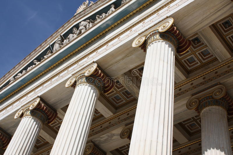 Detail of Academy of Athens, Greece. Close up of neoclassical Academy of Athens, Greece. It is the highest research establishment in the country and one of the royalty free stock photos