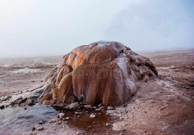 Detail of active geyser formation at El Tatio, Atacama, Chile. Active geysers comes out of the ground. Hot vapor erupting activity royalty free stock images