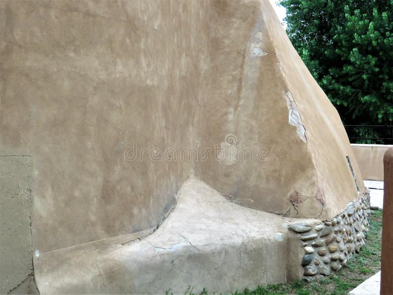 Detail, adobe architecture, Chimayo stock image