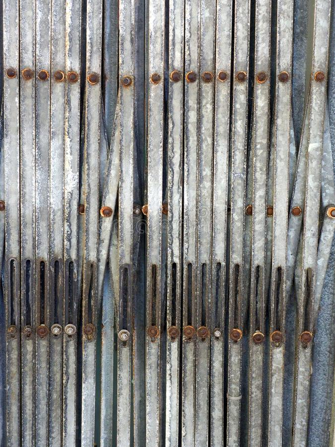 Folded Metal Security Shutters, Abstract Pattern stock photography