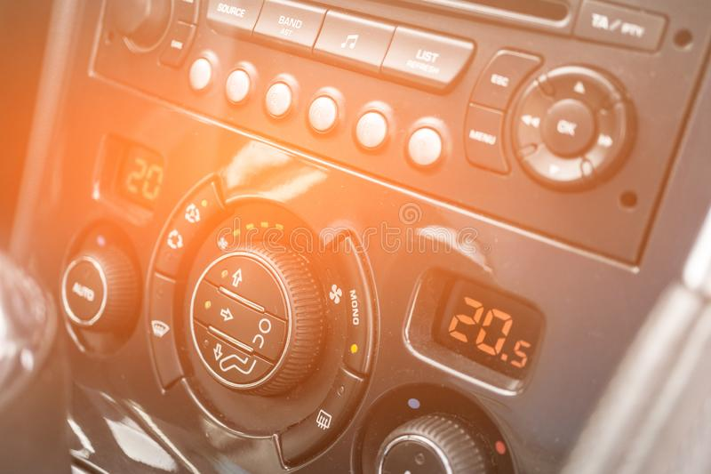 Detail air conditioning button inside a car royalty free stock image