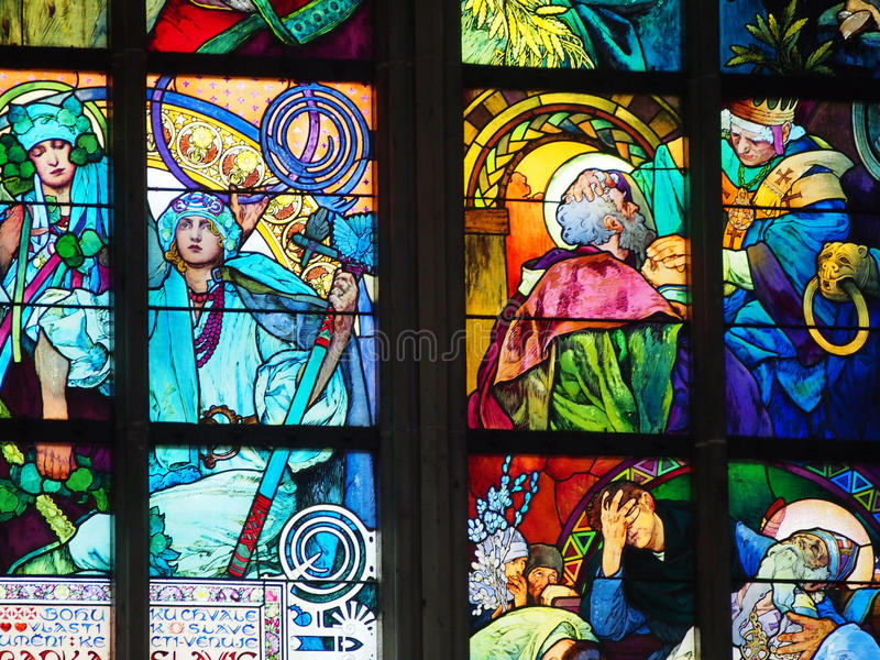 Detail of Alfons Mucha Stained Glass Prague. A detail of a stained glass window that was designed by Alfons Mucha in Prague royalty free stock images