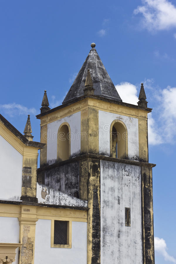 Detail of an ancient church in Olinda, Recife, Brazil. With blue sky at the background stock photo