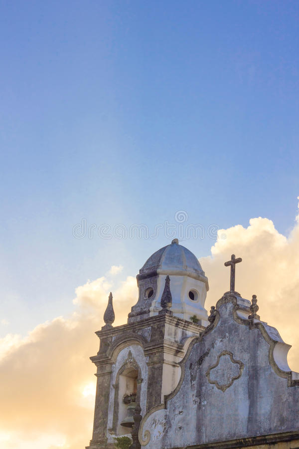 Detail of an ancient church in Olinda, Recife, Brazil. On sunset stock photo